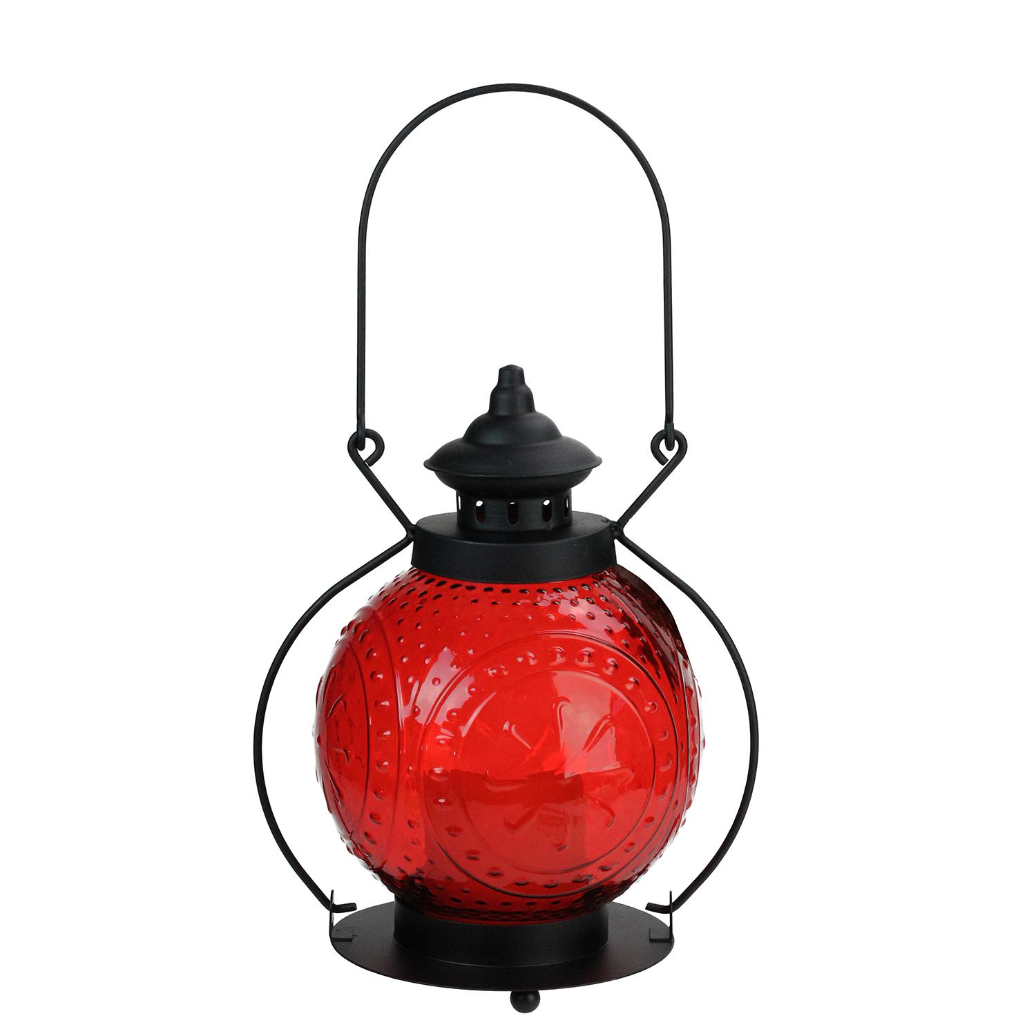 "11"" Red Molded Glass Lantern with Flameless LED Pillar Timer Candle"