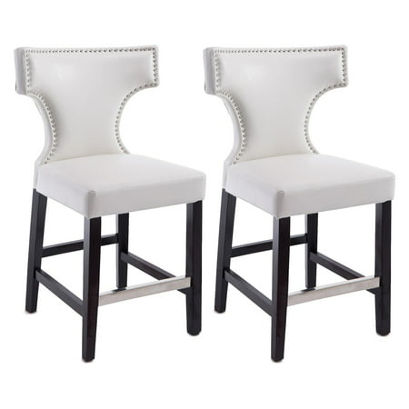 Kings Counter Height Barstool With Metal Studs Set Of 2