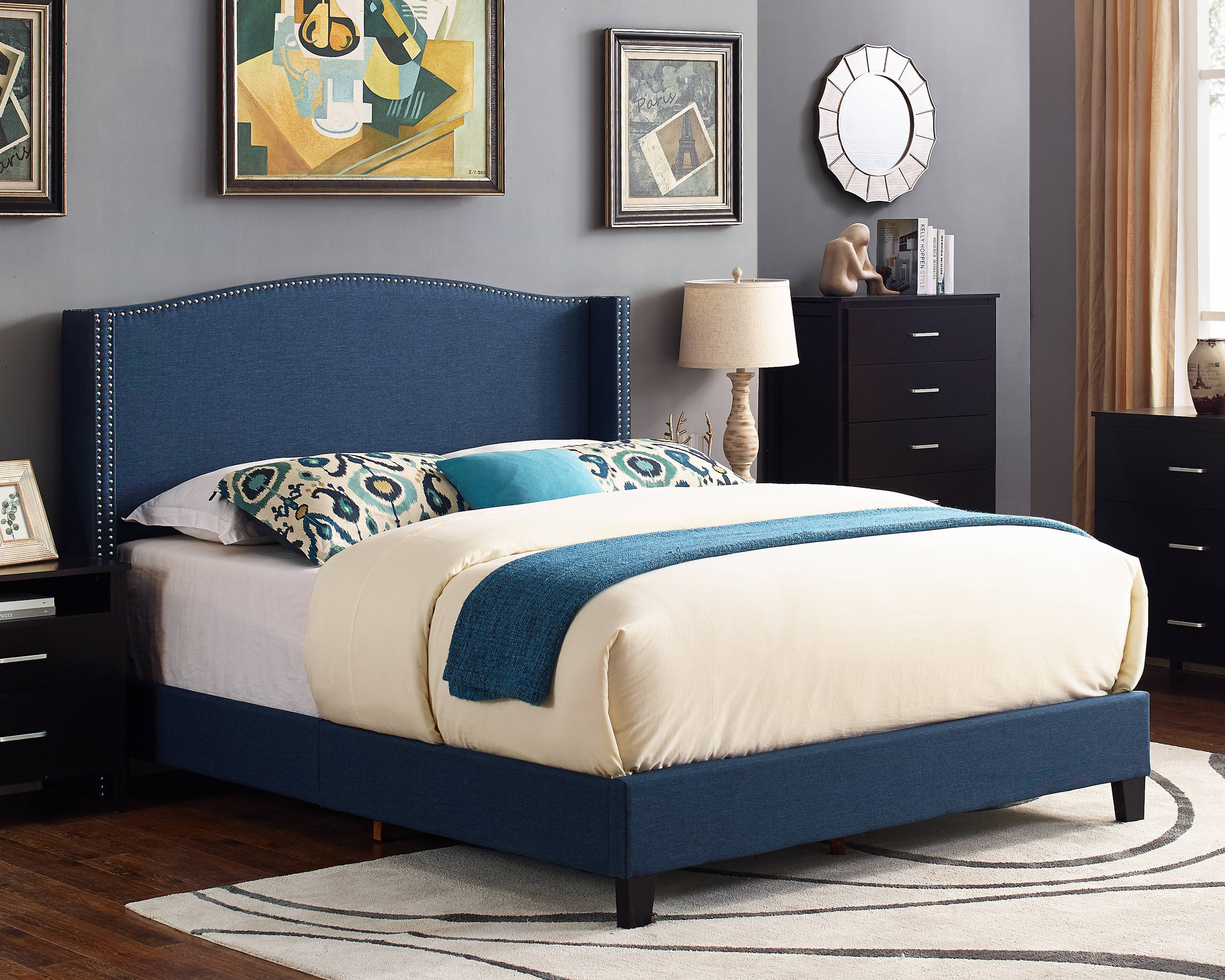 Scarlett Upholstered Wingback Bed Multiple Sizes And Colors Walmart Com Walmart Com