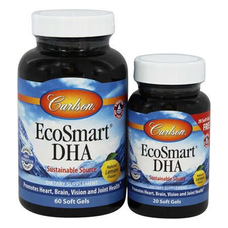 Carlson Labs - Norwegian EcoSmart DHA Lemon Flavored 500 mg. - Bonus Pack 60 + 20 Softgels Formerly CalaDHA from Calamari 1000 mg.