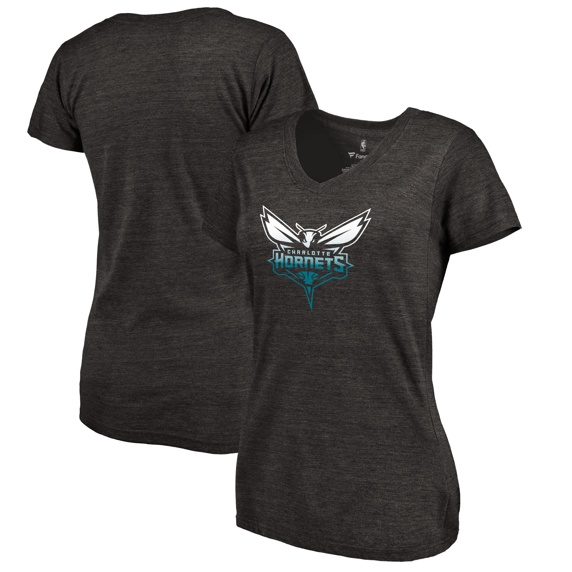 Charlotte Hornets Fanatics Branded Women's Gradient Logo Tri-Blend T-Shirt - Black
