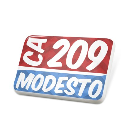 Porcelein Pin 209 Modesto, CA red/blue Lapel Badge – NEONBLOND