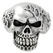 Hellfire Jewelry Sterling Silver Electro Skull with Movable Jaw Ring