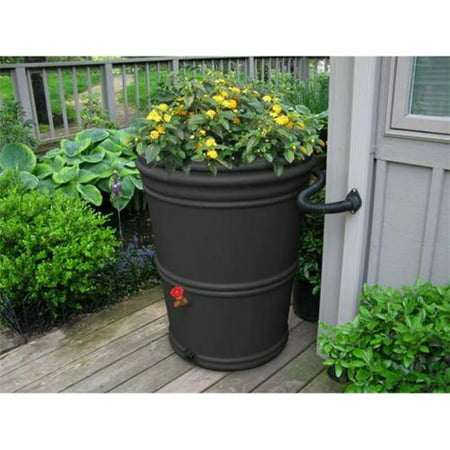 EarthMinded PRN1004 65 Gallon RainStation Rain Barrel - Recycled Charcoal