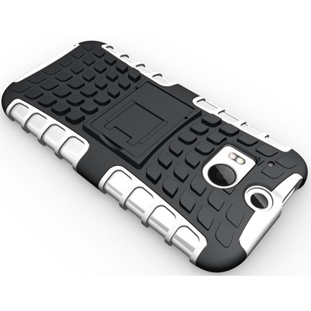 NAKEDCELLPHONE WHITE GRENADE GRIP RUGGED TPU SKIN HARD CASE COVER STAND FOR HTC ONE M8 2014  (AT&T, T-Mobile, Sprint, Verizon, Unlocked) - image 4 of 4