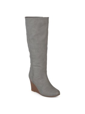 Women's Wide Calf Round Toe Faux Leather Mid-calf Wedge Boots