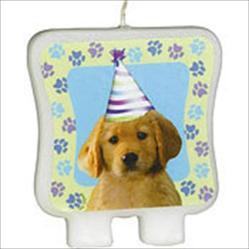 Puppy Party Printed Decal Cake Candle (1ct)