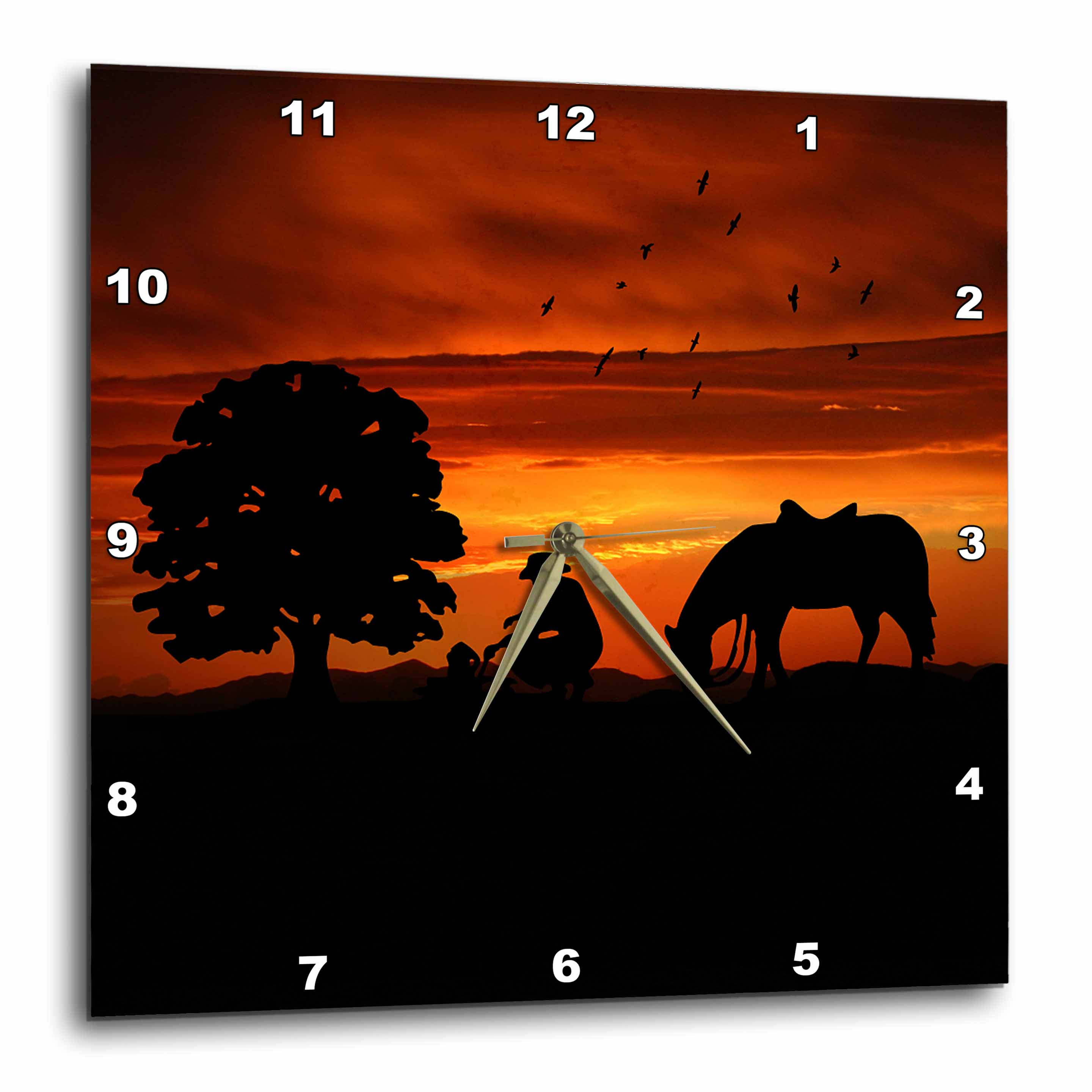3dRose Cowboy Campfire with Horse on a Hill at Sunset has a Western feel., Wall Clock, 13 by 13-inch