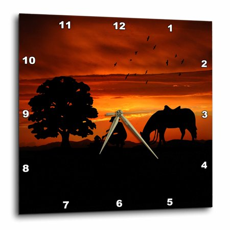 3dRose Cowboy Campfire with Horse on a Hill at Sunset has a Western feel., Wall Clock, 10 by 10-inch