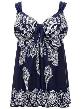 c995467150bb2 Product Image Plus Size Navy Retro Print Fashion Pin Up Swimdress Style  Swimsuit Tankini Set