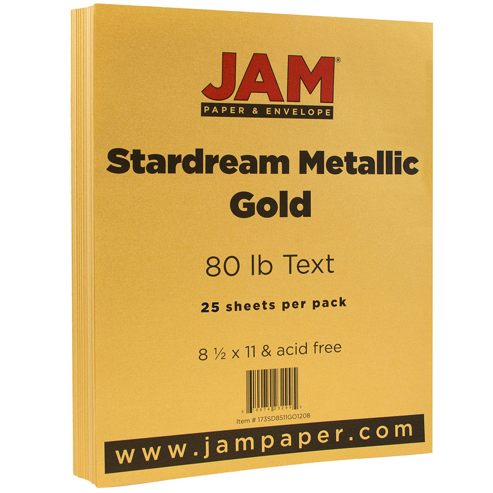 "JAM Paper Metallic Paper, 8.5"" x 11"", 32lb Gold Stardream Metallic, 25 Sheets/pack"
