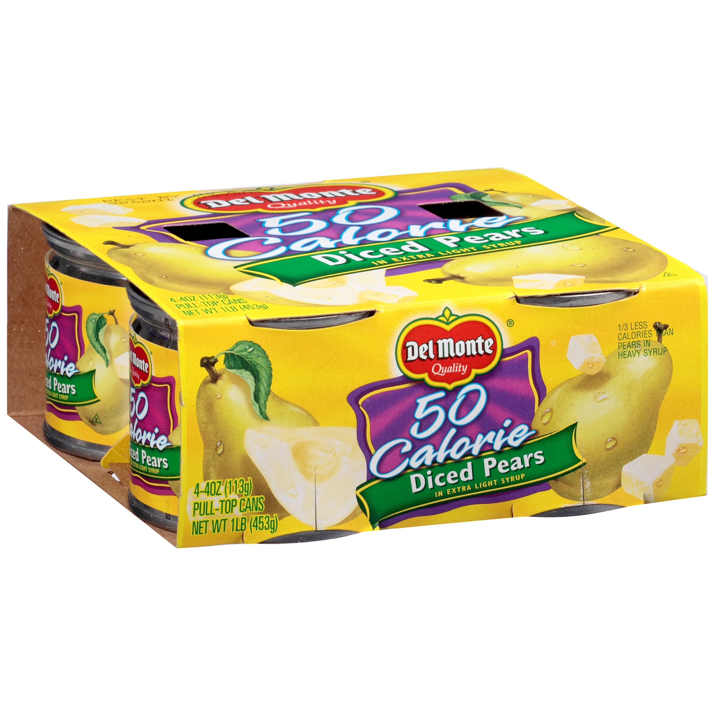 Del Monte® Diced Pears in Extra Light Syrup 4-4 oz. Pull-Top Cans
