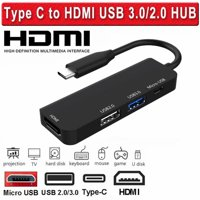 Black Friday USB C Hub Adapter, Aluminum 4 in 1 Type C to HDMI Adapter, Type C Hub with 4K HDMI Output Port, 2 USB3.0 Ports for MacBook Pro, Chromebook - Black