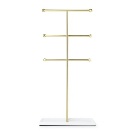 - Umbra Trigem Hanging Jewelry Organizer – 3 Tier Extra Tall Tabletop Necklace Holder and Jewelry Display Stand Tree with Ring Tray to Organize Necklaces, Bracelets, Earrings, Rings and Watches, Brass