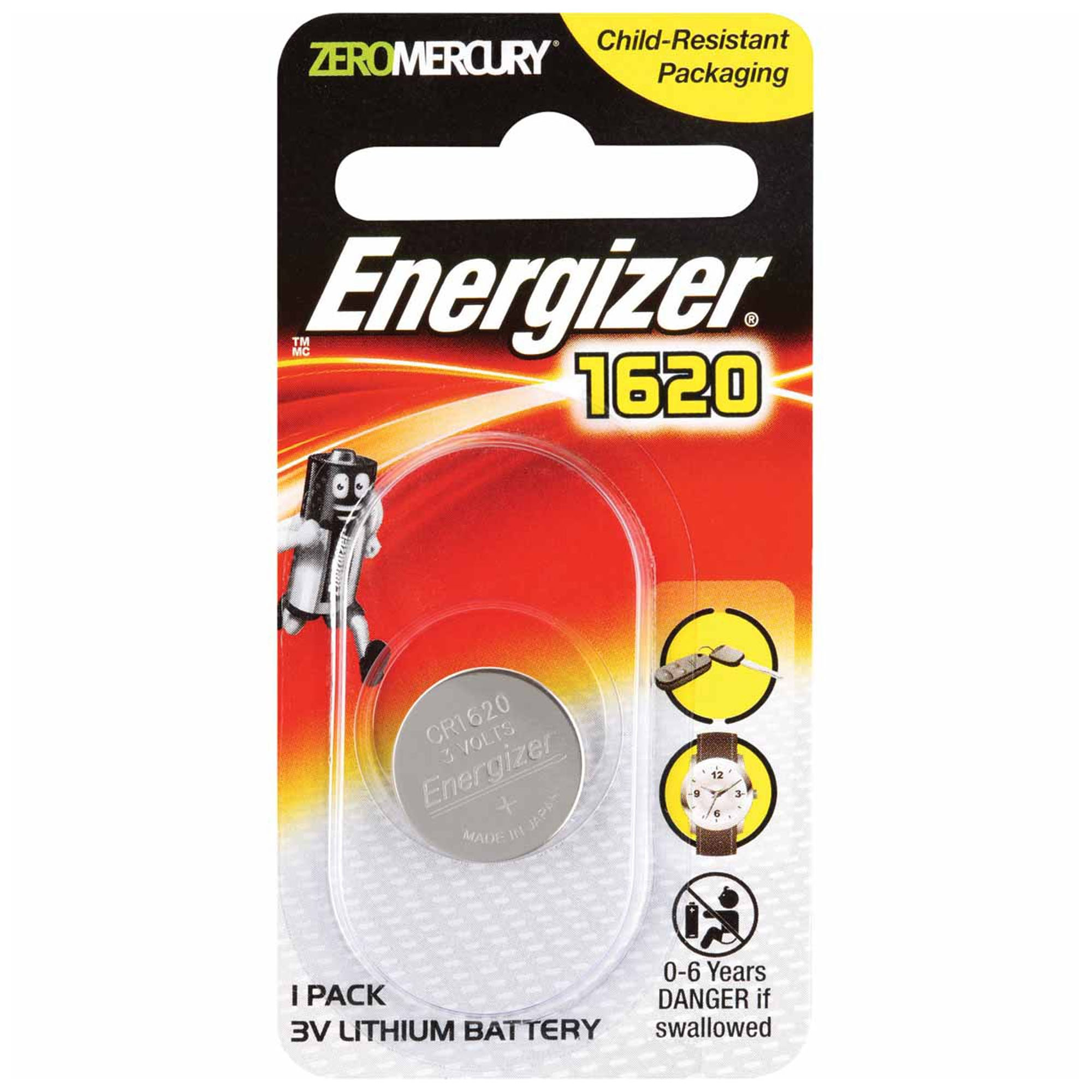 Cr1620 Energizer 3 Volt Lithium Coin Cell Battery (On A Card) by Energizer