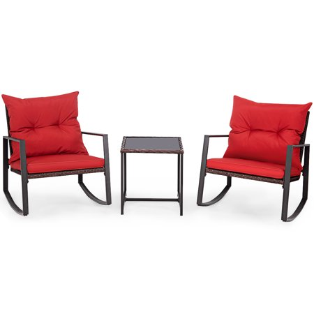 Costway 3-Piece Patio Wicker Bistro Furniture Set w/ 2 Rocking Chairs, Glass Side Table, Cushions Red/Beige ()