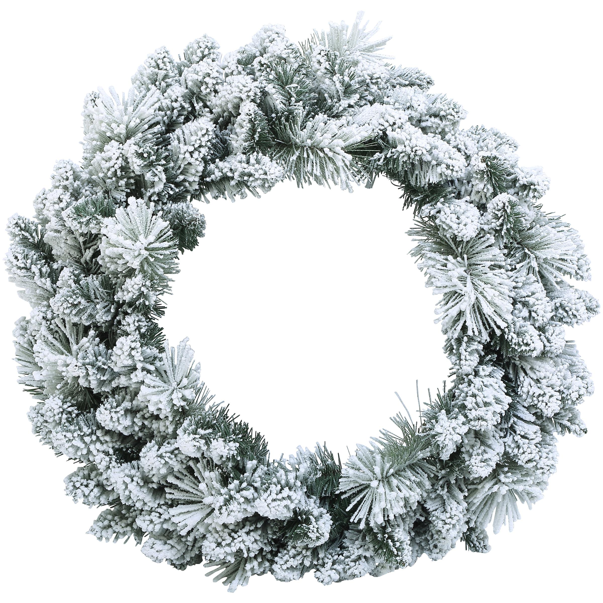 on sale 8fcf8 85407 Holiday Time 24-inch Decorative Flocked Wreath Snowy - Easy to Hang