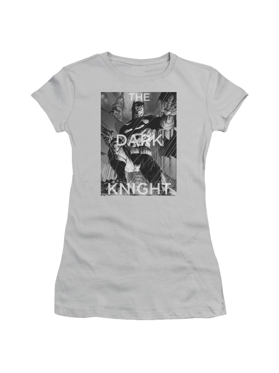 Batman The Dark Knight Fighting The Storm On Gargoyle Juniors Sheer T-Shirt Tee