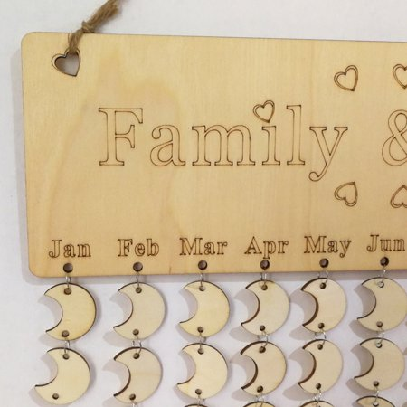 WomailR Wood Birthday Reminder Board Birch Ply Plaque Sign Family