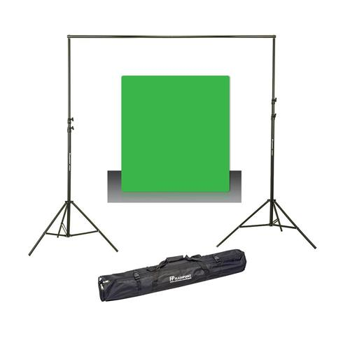 Photo Basics 9' x 10' Green Screen Cotton Background - Bundle With Flashpoint 10' Background Support System