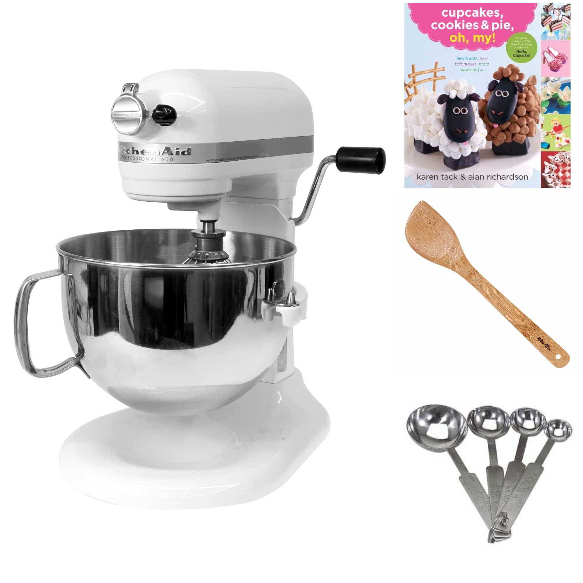 KitchenAid Pro 600 Series 6 Quart Bowl Lift Stand Mixer (White) Bundle