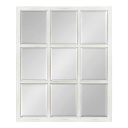 Wood Pane - Kate and Laurel Hogan 9 Windowpane Wood Wall Mirror, Rustic White 26x32