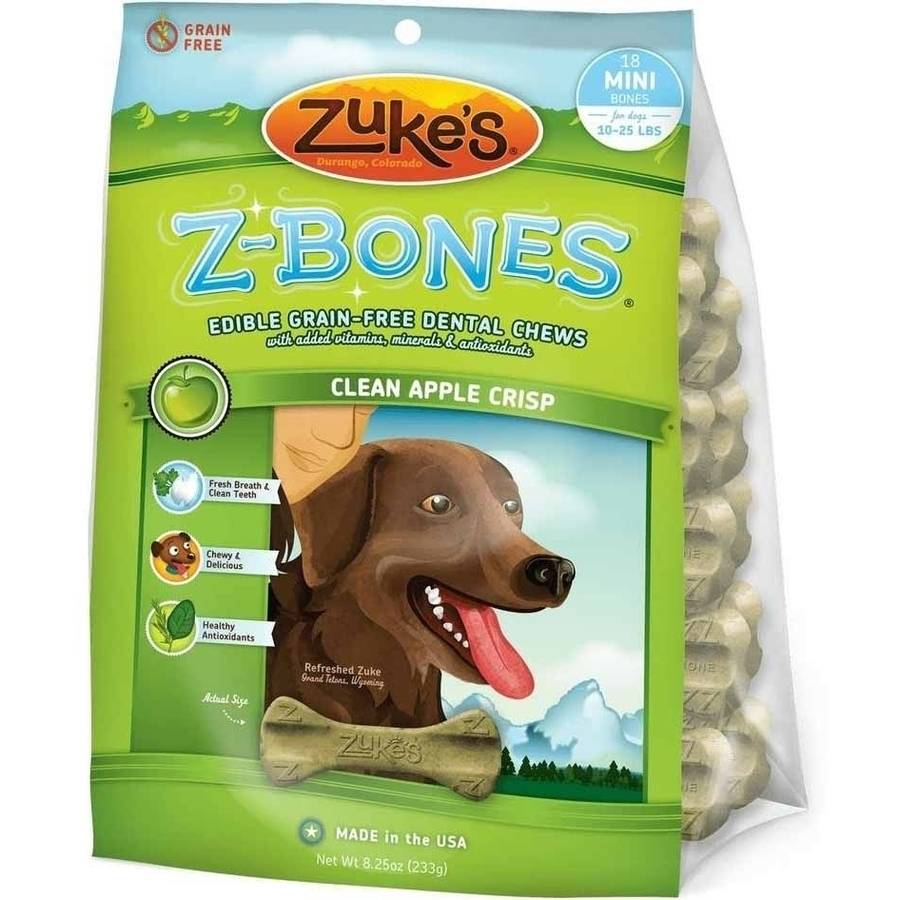 Zuke's Z-Bones Grain Free Edible Dental Chews Clean Apple Crisp, 18 Count, Small