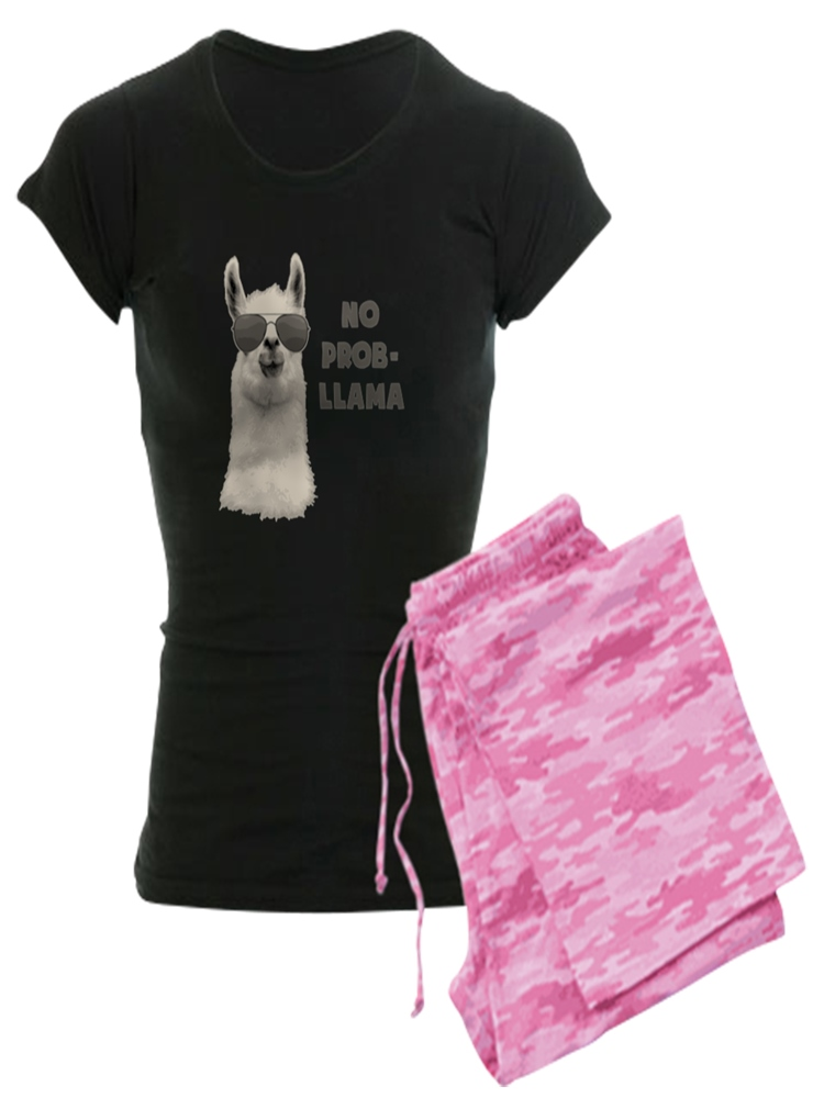 8c26dfb5af5d CafePress - No Problem Llama Pajamas - Women s Dark Pajamas