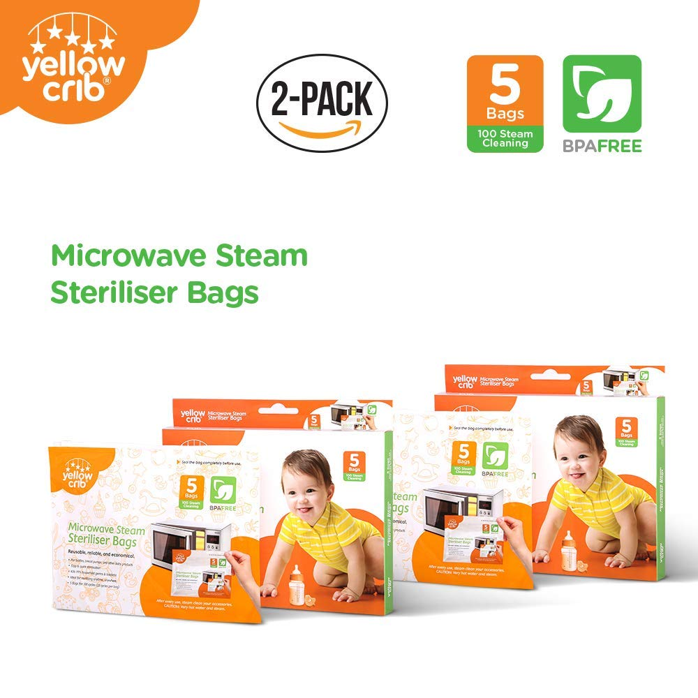 Microwave Steam Sterilizer Bag (5 Pcs) - 100% Durable Steam Bags for Baby Bottles, Soothers, Teethers & Training Cups (2-Pack)