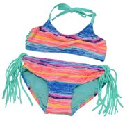 Girl Big Girl Multi Color Halter Top Fringe Bottoms 2 Pc Swimsuit 7