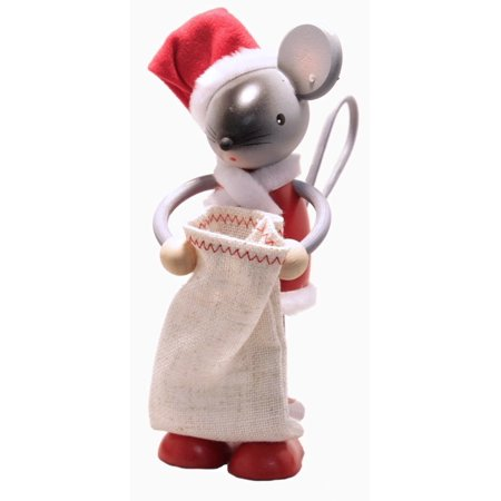 Santa Claus Mouse with Bag German Wooden Christmas Figurine Made in Germany ()