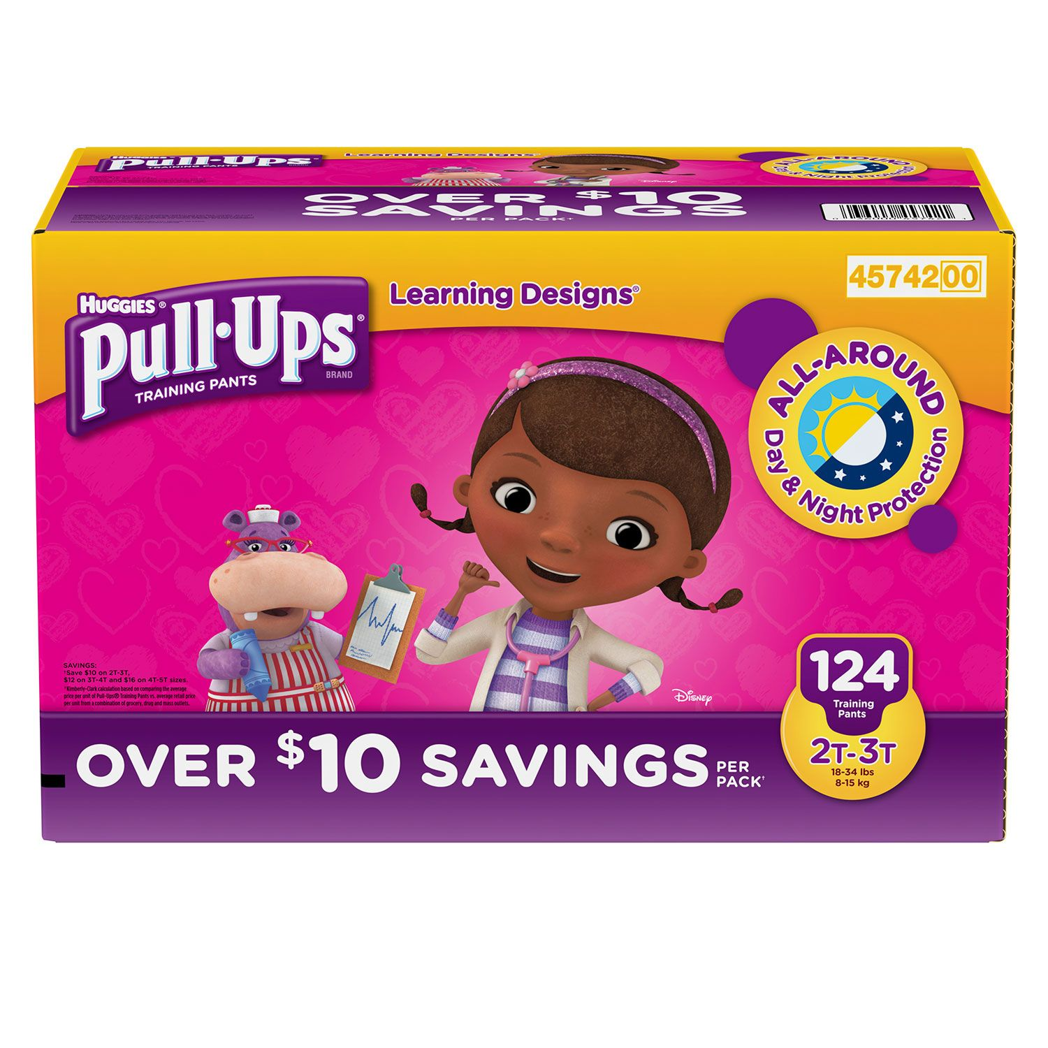 Huggies Pull-ups Traning Pants for Girls (Size M, 2T - 3T, 124 ct.)