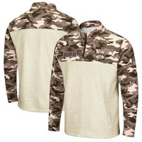Mississippi State Bulldogs Colosseum OHT Military Appreciation Desert Camo Quarter-Zip Pullover Jacket - Oatmeal
