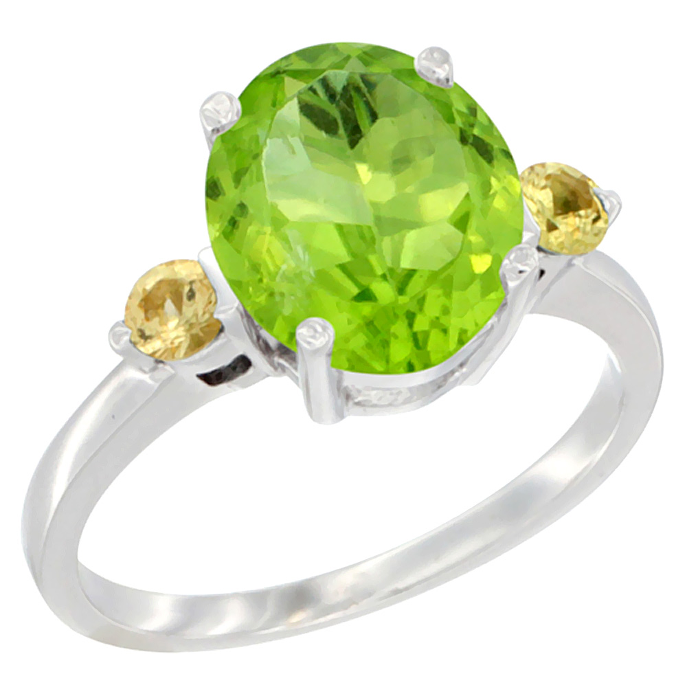 10K White Gold Natural Peridot Ring Oval 10x8mm Yellow Sapphire Accent, sizes 5 - 10