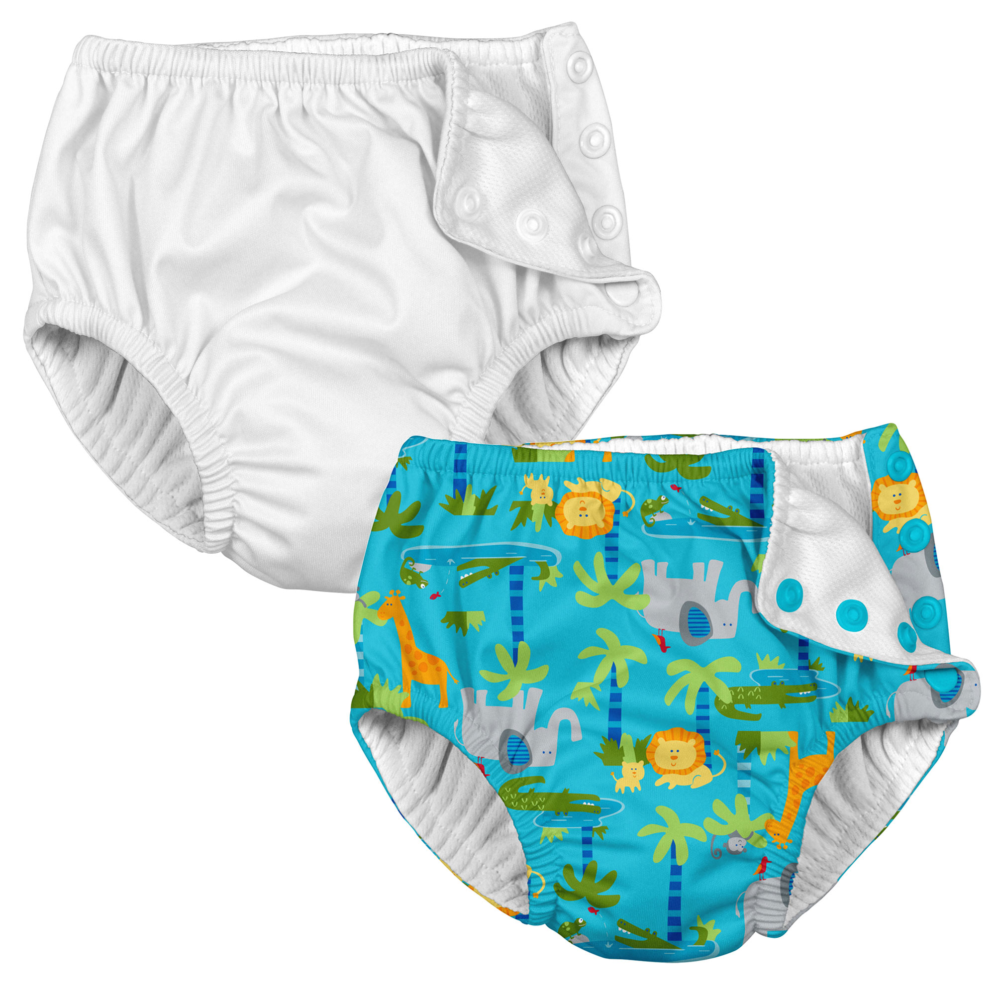 i play Baby and Toddler Snap Reusable Swim Diaper - White and Aqua Jungle - 2 Pack