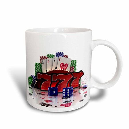 3dRose Casino concept with poker cards chips dice and slot style sevens - Ceramic Mug, 11-ounce
