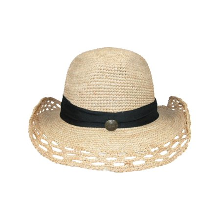 Size one size Women's Shapeable Raffia Straw Hat with Open Weave Pattern, (Raffia Classic Hat)