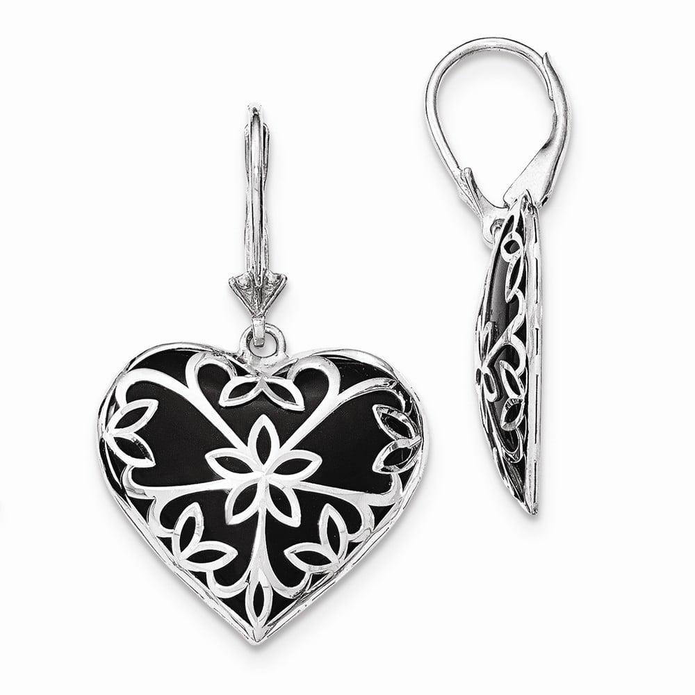 Sterling Silver Onyx Heart Leverback Earrings
