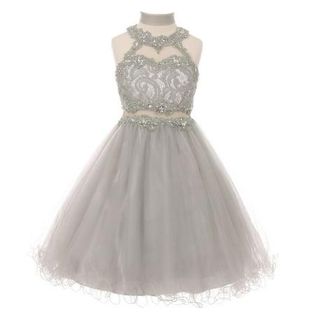 Little Girls Silver Rhinestone Halter Neck Lace Tulle Flower Girl Dress](Silver Little Girl Dresses)