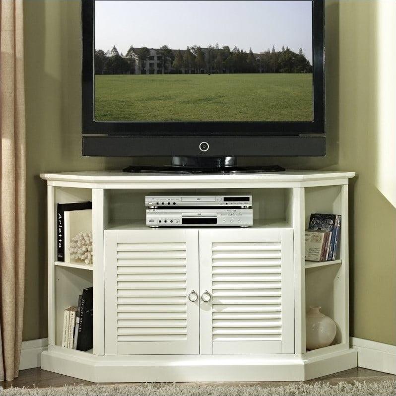 "Kingfisher Lane 52"" Wood Corner TV Console in White"