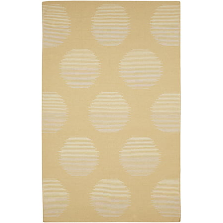 3.5' x 5.5' Filtered Sun Silhouette Gold and Beige Hand Woven Wool Area Throw Rug