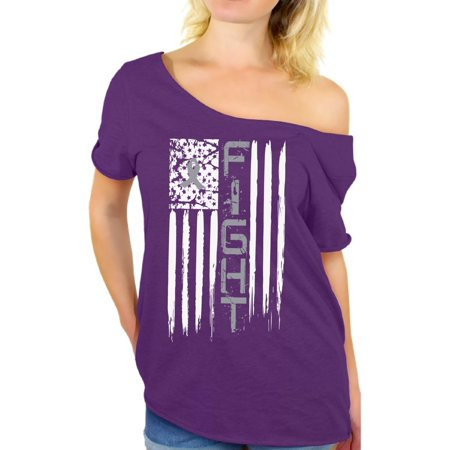 Purple For Cancer (Brain Cancer Off Shoulder T-shirt Fight Cancer t shirt brain cancer awareness t shirt faith love hope support survive survivor gifts for my mom dad grandpa grandma special for women)
