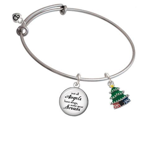 Enamel Christmas Tree Angels Wear Scrubs Bangle Bracelet