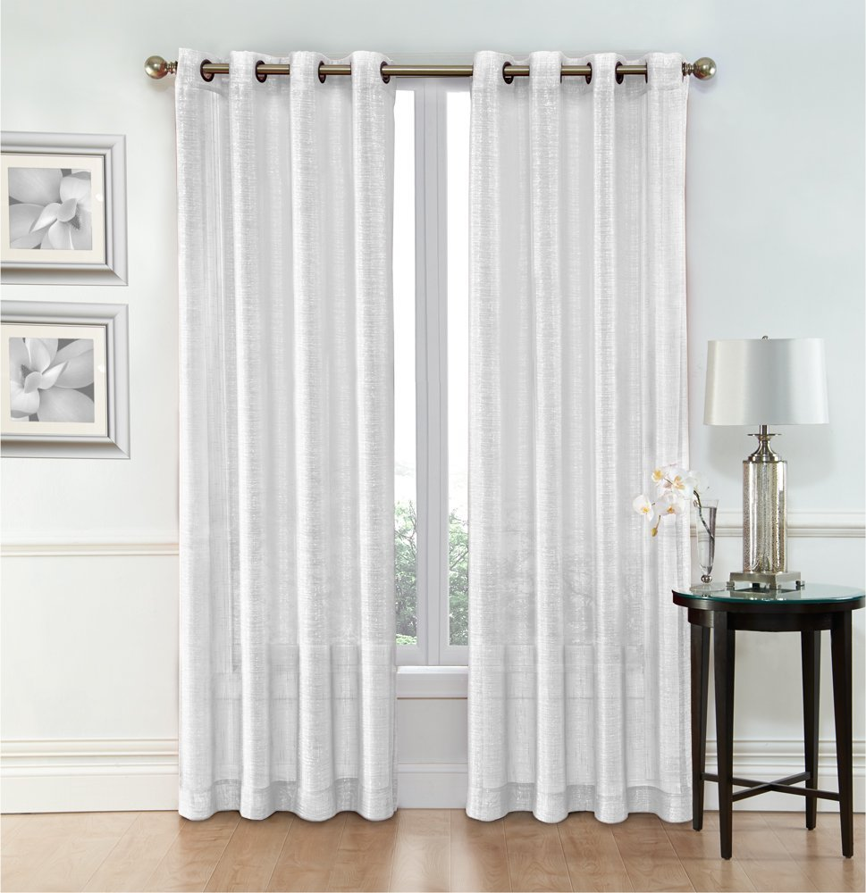 Ruthy S Textile White Sheer Curtains 2 X 54 X 84 Panels Rod Pocket Top Voile Drapes For Bedroom Living Room Or Dining Room Windows Walmart Com Walmart Com