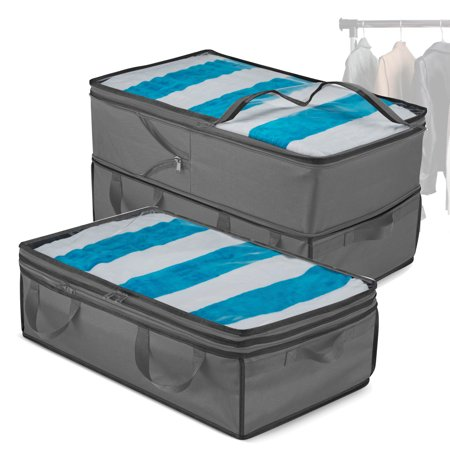 Expandable Storage Bags - 2 in 1 Jumbo & Underbed Storage, Durable Handles, Large Capacity Clothes Storage, Clear Window, Dorm Room Organization & Storage for Comforters, (Black, 2 Bag) Jumbo Underbed Bag
