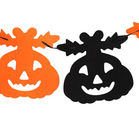 HERCHR Happy Halloween Fabric String Banner Hanging Bunting Flag Garland Decor Party Ornaments(#4), Halloween Banner, Bunting Flag, 9.84in Halloween Non-woven Color Flag (4# Pumpkin with Leaf) - 4 Halloween Colors