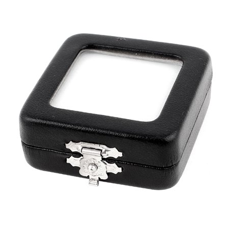 Black Faux Leather Jewelry Case - Black Faux Leather Square Shape Jewelry Holder Case Storage Box