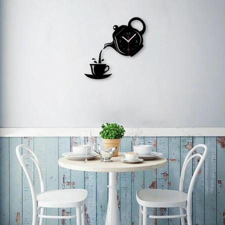 DIY Teapot Shape Acrylic Mirror Surface Wall Clock Sticker Decoration - image 4 of 8