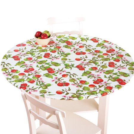 Fitted Elastic No-Slip Fit Table Cover with Soft Flannel Backing, Round, Apples - Fitted Table Covers