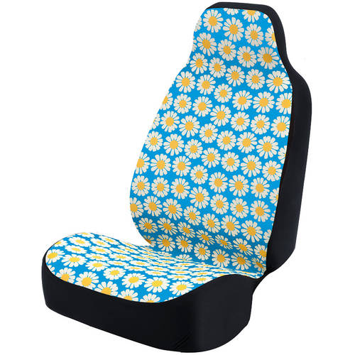 Coverking Universal Seat Cover Fashion Print, Ultra Suede, Daisy Crazy White Flowers and Blue Background with Black Interlock Backing